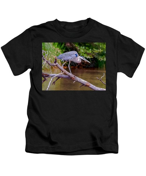 Painting Blue Heron Oak Creek Kids T-Shirt by Dr Bob Johnston