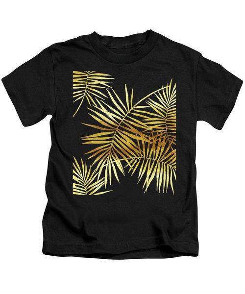 Palmes Dor Noir Golden Palm Fronds And Leaves Kids T-Shirt