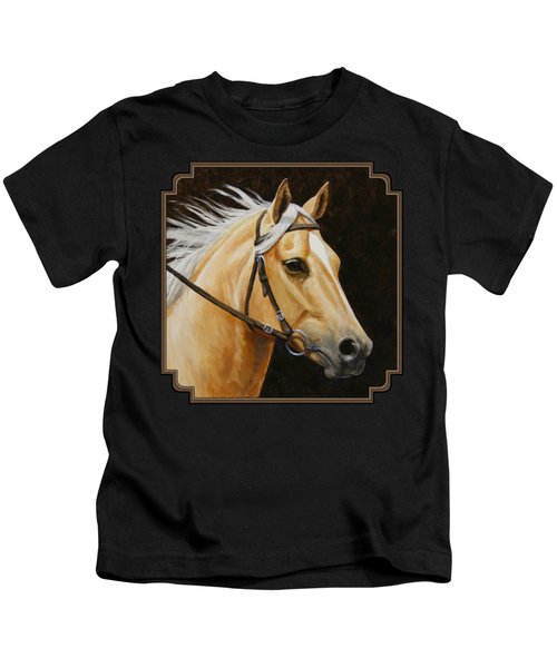 Palomino Horse Portrait Kids T-Shirt by Crista Forest