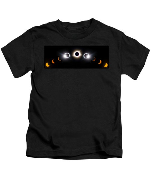 Panorama Total Eclipse T Shirt Art Phases  Kids T-Shirt