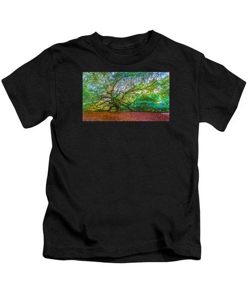 Panoramic Angel Oak Tree Charleston Sc Kids T-Shirt