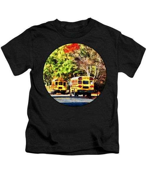 Parked School Buses Kids T-Shirt