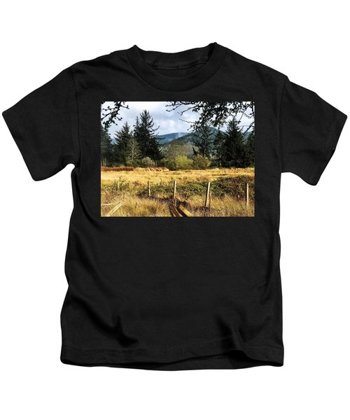 Pasture, Trees, Mountains Sky Kids T-Shirt