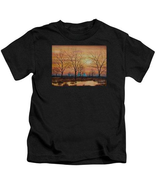 Patomac River Sunset Kids T-Shirt