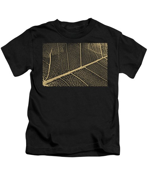 Patterns Of Nature - Leaf Veins In Gold On Black Canvas No. 3 Kids T-Shirt
