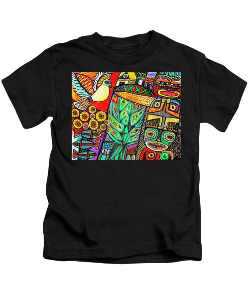 Peace Dove In Totem Forest Kids T-Shirt