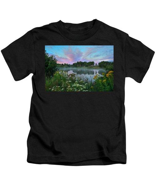 Peaceful Sunrise At Lake. Altai Kids T-Shirt