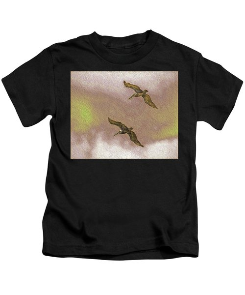 Pelicans On Cave Wall Kids T-Shirt