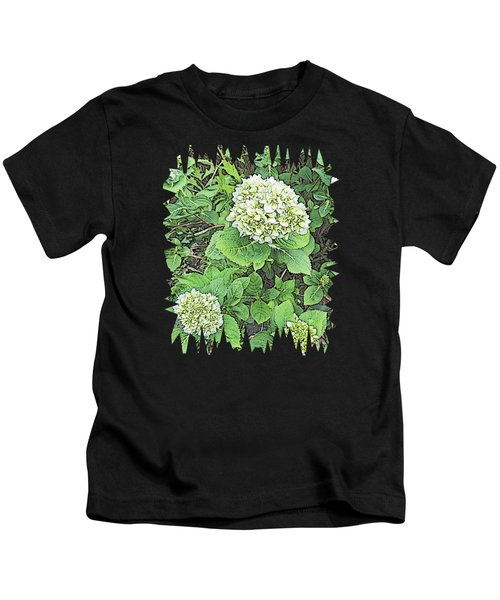 Pencil Sketch Hydrangea With Jagged Edges Kids T-Shirt