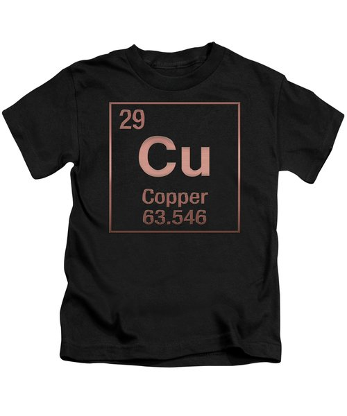 Periodic Table Of Elements - Copper - Cu - Copper On Black Kids T-Shirt