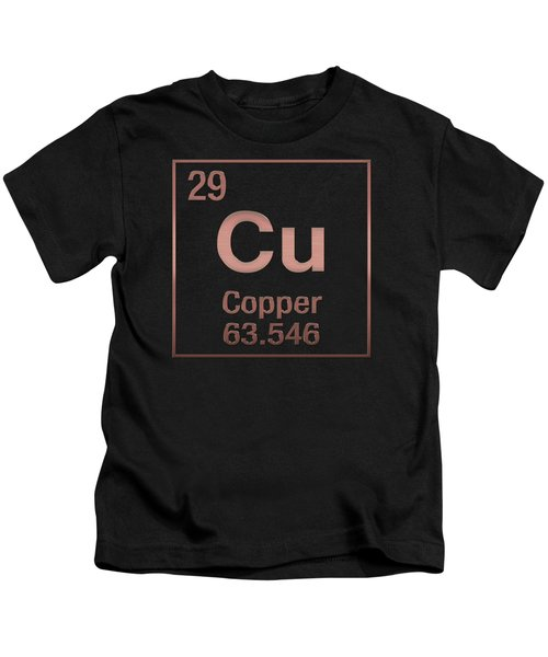 Periodic Table Of Elements - Copper - Cu - Copper On Copper Kids T-Shirt