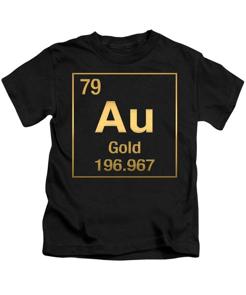 Periodic Table Of Elements - Gold - Au - Gold On Black Kids T-Shirt
