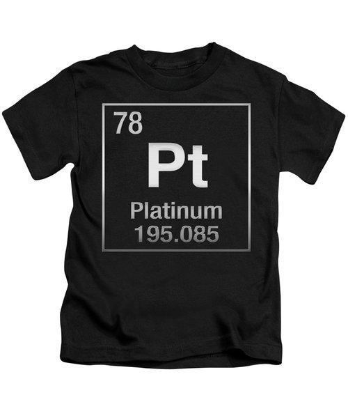 Periodic Table Of Elements - Platinum - Pt - Platinum On Black Kids T-Shirt