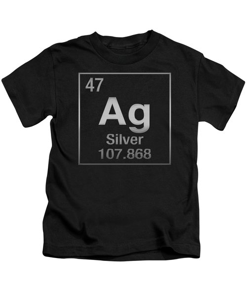 Periodic Table Of Elements - Silver - Ag - Silver On Black Kids T-Shirt