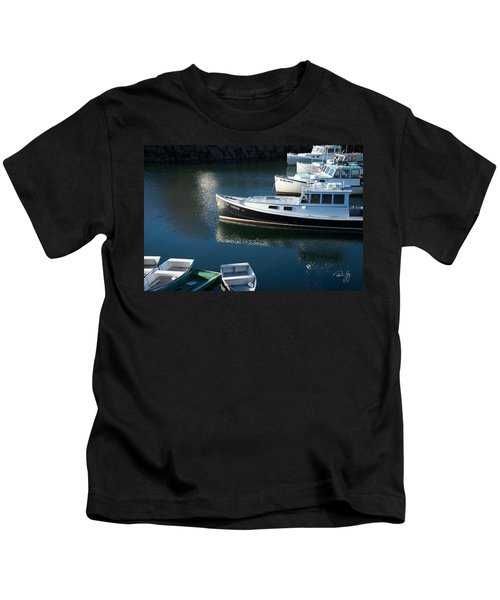 Perkins Cove Lobster Boats One Kids T-Shirt