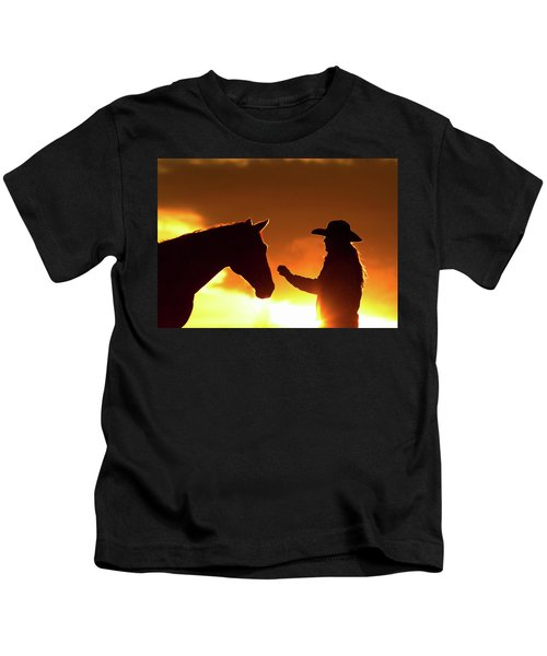 Cowgirl Sunset Sihouette Kids T-Shirt