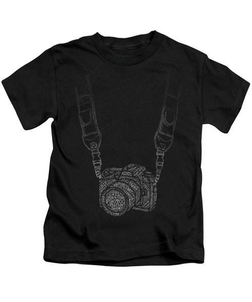 Photography Slang Word Cloud Camera Kids T-Shirt by Felikss Veilands