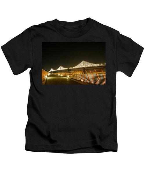Pier 14 And Bay Bridge Lights Kids T-Shirt