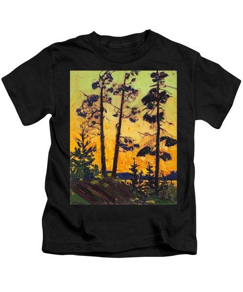 Pine Trees At Sunset Kids T-Shirt