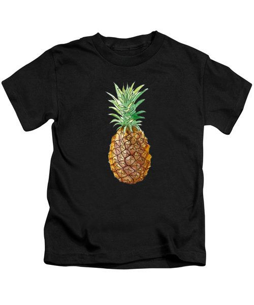 Pineapple On Black Kids T-Shirt