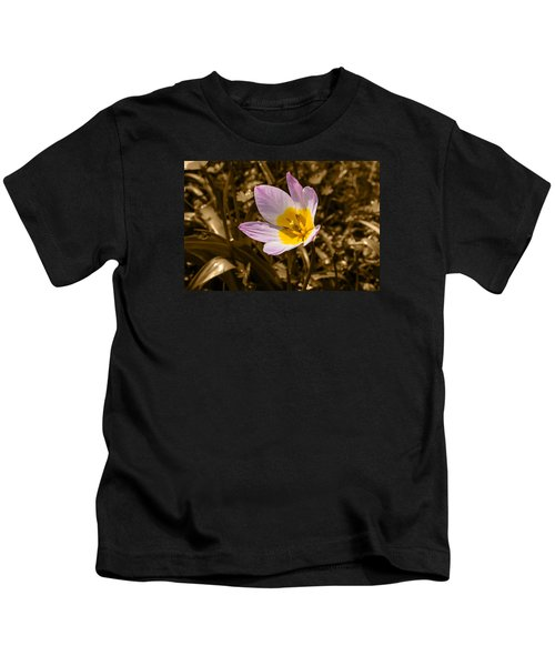 Pink And Yellow Tulip On Sepia Background Kids T-Shirt