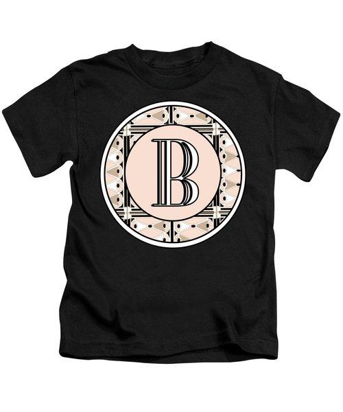 Pink Champagne Deco Monogram  B Kids T-Shirt