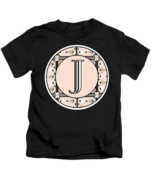 Pink Champagne Deco Monogram  J Kids T-Shirt
