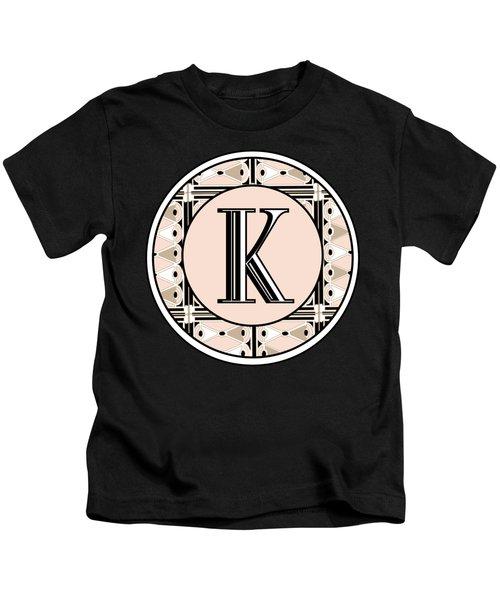 Pink Champagne Deco Monogram  K Kids T-Shirt