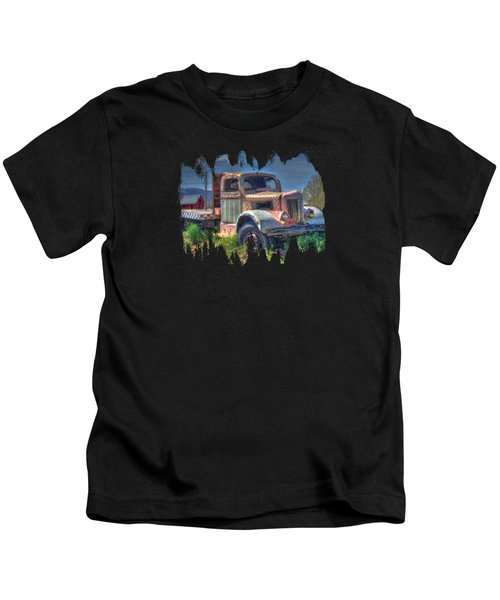 Classic Flatbed Truck In Pink Kids T-Shirt