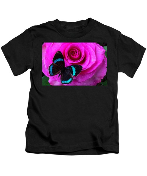 Pink Rose And Black Blue Butterfly Kids T-Shirt
