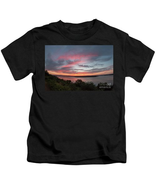 Pink Skies And Clouds At Sunset Over Lake Travis In Austin Texas Kids T-Shirt