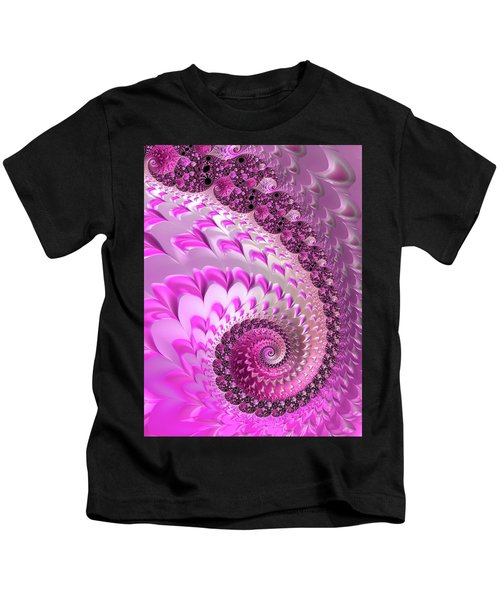 Pink Spiral With Lovely Hearts Kids T-Shirt