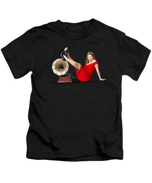 Pinup Girl In Red Dress Playing Classical Music Kids T-Shirt