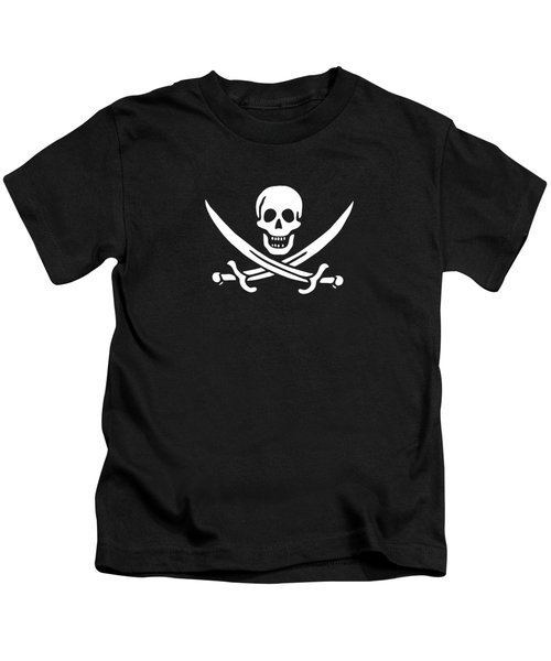 Kids T-Shirt featuring the digital art Pirate Flag Jolly Roger Of Calico Jack Rackham Tee by Edward Fielding