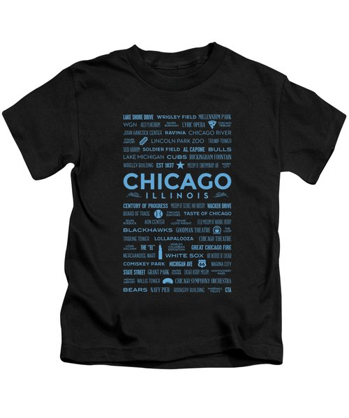 Places Of Chicago Blue On Black Kids T-Shirt by Christopher Arndt
