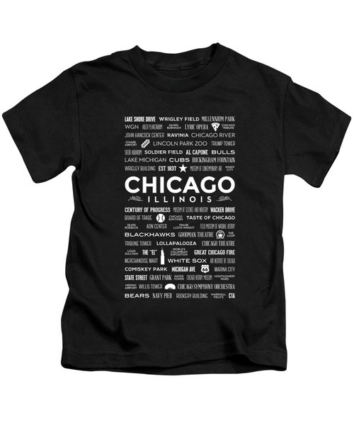 Places Of Chicago On Black Chalkboard Kids T-Shirt