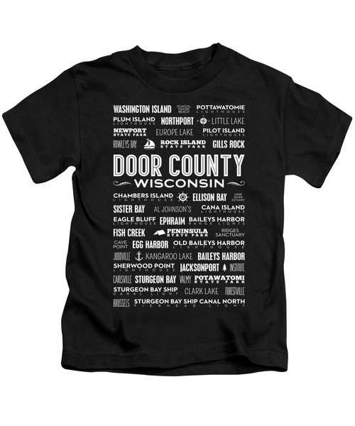 Places Of Door County On Black Kids T-Shirt