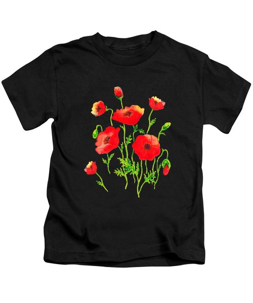 Playful Poppy Flowers Kids T-Shirt