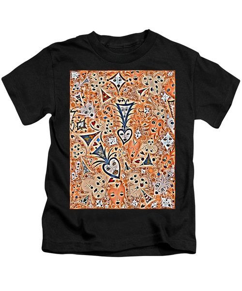 Playing Card Symbols With Faces In Rust Kids T-Shirt