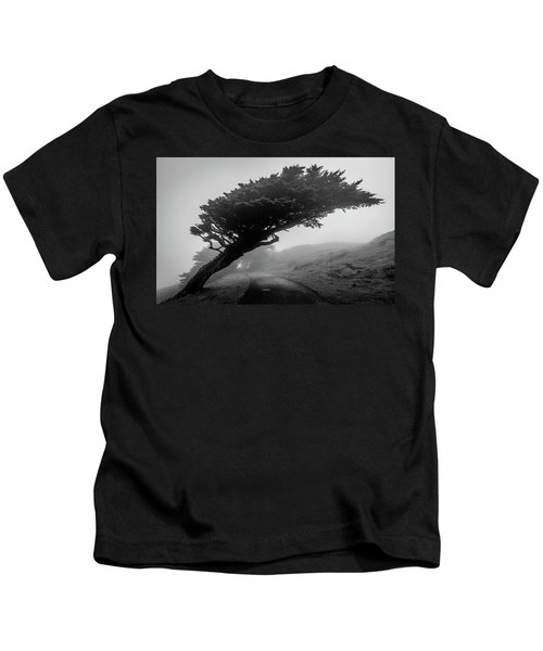 Point Reyes Fog Black And White Kids T-Shirt