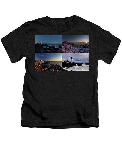 Portland Head Light Day Or Night Kids T-Shirt