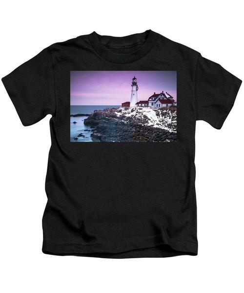 Maine Portland Headlight Lighthouse In Winter Snow Kids T-Shirt