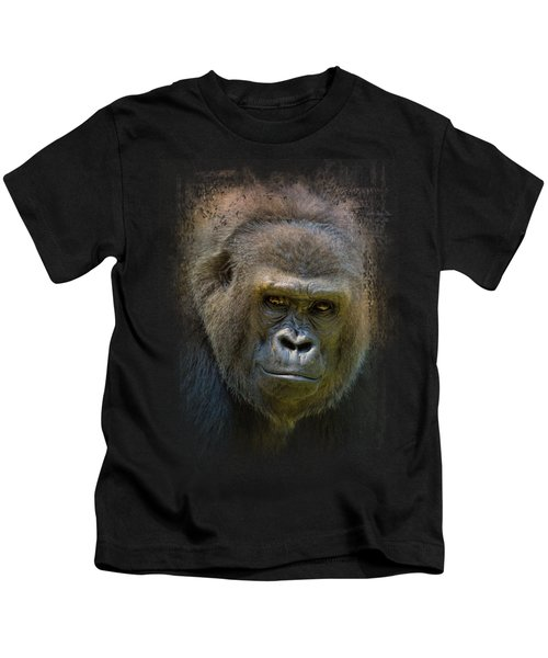 Portrait Of A Gorilla Kids T-Shirt by Jai Johnson