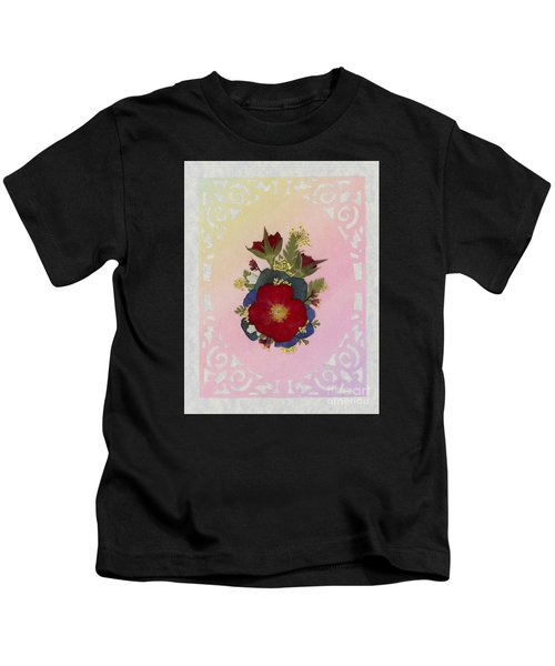 Pressed Flowers Arrangement With Red Roses Kids T-Shirt
