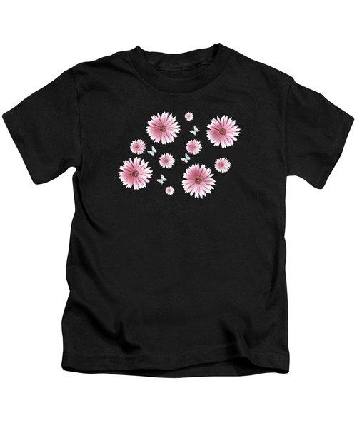 Pretty Pink Flowers On Black Kids T-Shirt