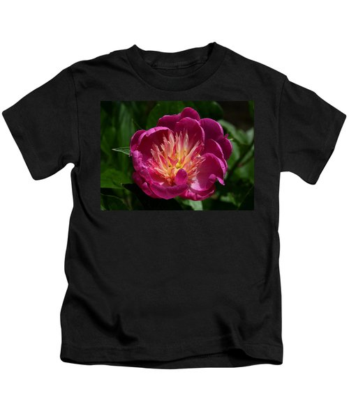 Pretty Pink Peony Flower Kids T-Shirt