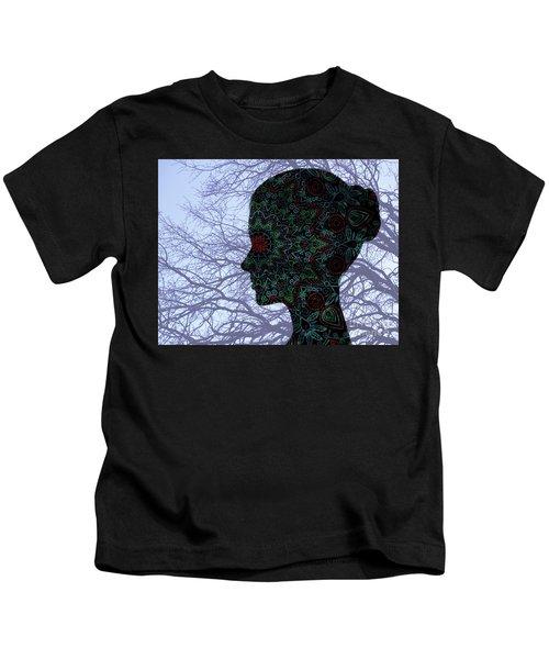 Profile Portrait Of Young Beautiful Woman. Kids T-Shirt