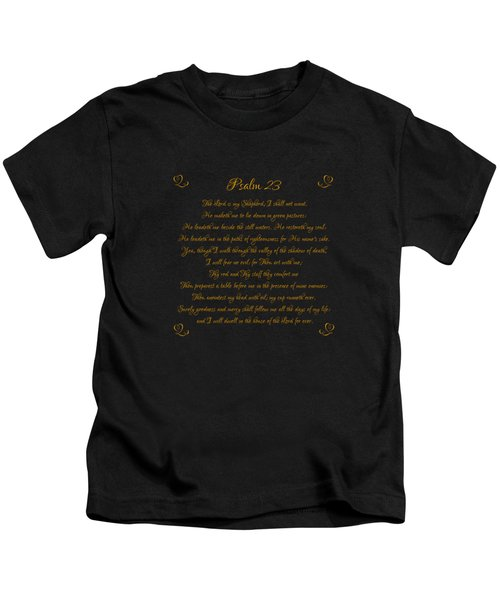 Psalm 23 The Lord Is My Shepherd Gold Script On Black Kids T-Shirt