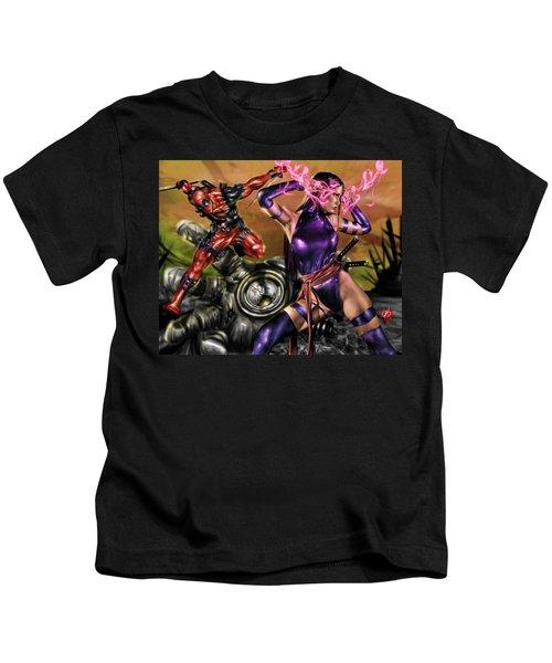 Psylocke And Deadpool Kids T-Shirt