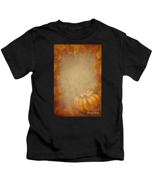 Pumpkin And Maple Leaves Kids T-Shirt